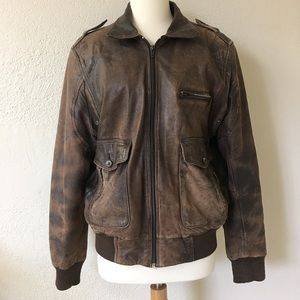 Saks Fifth Avenue brown leather bomber jacket